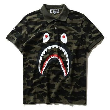 DCCK8H2 BAPE SHARK Camouflage pure cotton printed lapel T-shirt Tops