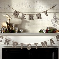German Glitter Merry Christmas Garland