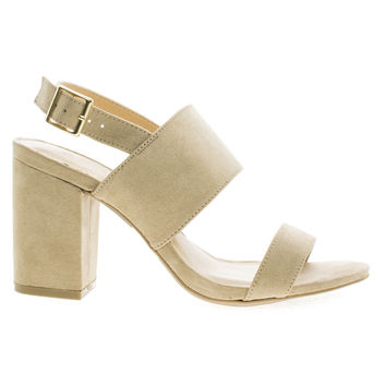 Susie30 Natural F-Suede by Wild Diva, Natural Suede Open Toe Sling Back Heeled Mule Sandals