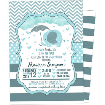 Elephant Baby Shower Invitation - Elephant Shower Invite - Boy Baby Shower Invitations - Blue Elephant Baby Shower Sprinkle - Chevron Hearts