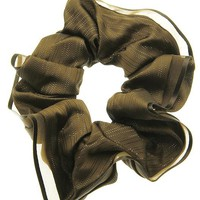 Brown Metallic Lined Scrunchie Hair Accessory