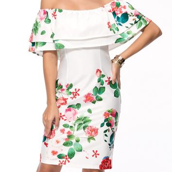 Streetstyle  Casual Chic Off Shoulder Flounce Floral Printed Bodycon Dress