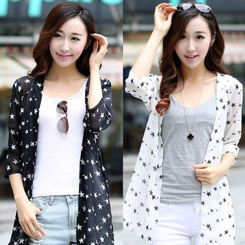 Free Shipping New Women's Fashion Summer Chiffon Cardigan Shirt Sun Protection Star Print Long Cardigan Beach Sunscreen Shirt
