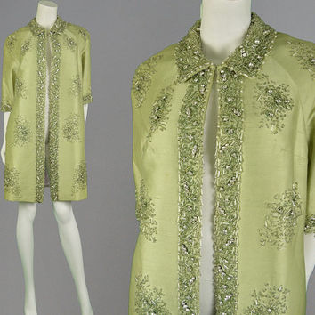 Vintage 50s Opera Coat Beaded Jacket Evening Swing Coat Pastel Green Raw Silk Dupion Embellished Coat Trophy Jacket 1950s Coat 60s Glamour