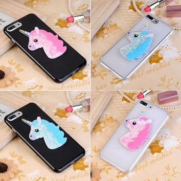 3D Cartoon Unicorn Glitter Case for Lenovo Vibe C A2020 A2020a40 DS A 2020 Bling Owl Soft TPU Cover Wind Chimes Diamond Coque