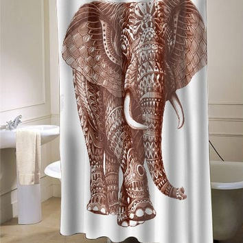 Elephant Ornate Shower Curtain Customized Design For Home Decor