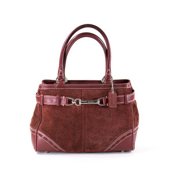 COACH Satchel Bag Burgundy Wine Suede and Leather Purse