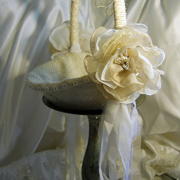 Burlap Bridal Flower Girl Wedding Basket handmade of by PapernLace