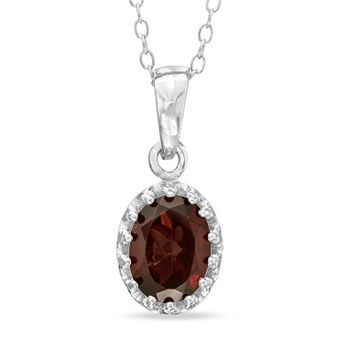 Oval Garnet Crown Pendant in Sterling Silver