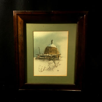 Original Watercolor of a Country Field with Hay, Signed L. Johnson '79