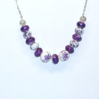 Handmade Beaded Necklace with Purple and White European Beads