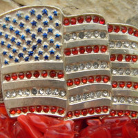 Vintage American Flag Belt Buckle Patriotic Red White and Blue Rhinestone Belt Buckle