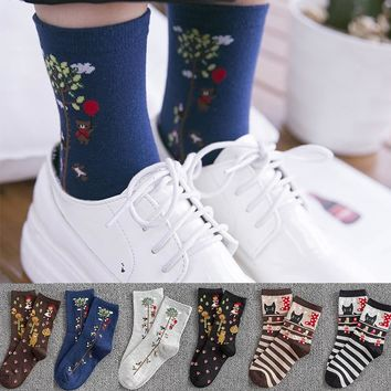 New High Quality Women Fashion Plant Art Funny Socks Winter Cotton Striped Cartoon Animal Cat Socks Female Novelty Crew Socks