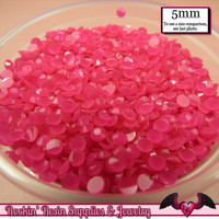 200 pcs 5mm JELLY HOT PINK Decoden Faceted Flatback Rhinestones