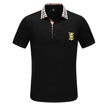 BURBERRY Fashion Men Casual Embroidery T-Shirt Top Tee Black