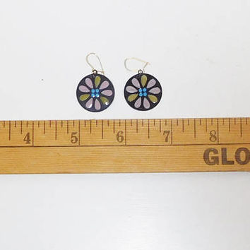 Hippie Earrings, Flower, Stained Glass Look, Small Round, Black Background, Green, Mauve, Blue, Never Worn, Vintage Costume Jewelry