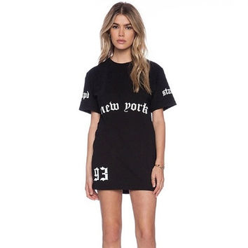 8458 European and American style New York BF letters printed T-shirts wild casual long loose dress = 1753492676