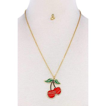 Designer Trendy Stitch Cherry Pendant Necklace And Earring Set