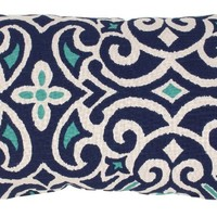 Pillow Perfect Blue/White Damask Rectangular Throw Pillow