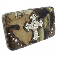 MOSSY OAK CAMO CROSS WALLETS W/RHINESTONE In Coffee