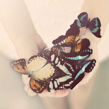 Butterfly Portrait, Dreamy Photograph, Soft, Cream, Ivory, Vintage Tones, Surreal Photography, Bedroom Art