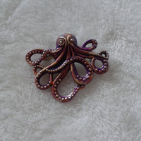 Purple mixed blended  Octopus silvertone   brooch  pin