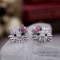 Hello Kitty Rhinestone Stud Earrings