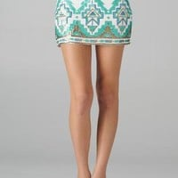 Aztec Sequin Pattern Mini Skirt