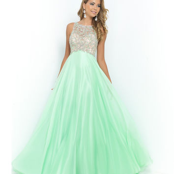 Green Honeydew Beaded Bodice Open Back Chiffon Gown