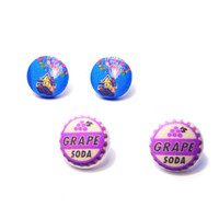 "Handmade Disney inspired Up! Earring set - House with Balloons and Grape Soda earrings 3/4"" fabric button earrings"