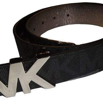 Michael Kors Womens Belt, Signature Logo Wide Belt - Black