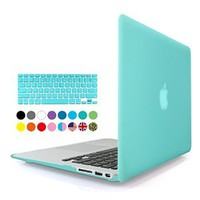 iBenzer® - 2 in 1 Multi colors Soft-Touch Plastic Hard Case Cover & Keyboard Cover for Macbook Air 11'', Turquoise MMA11TBL+1
