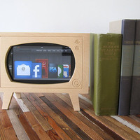 Handmade Natural Wood Retro TV  Dock for Kindle & ZTE Optic Tablets