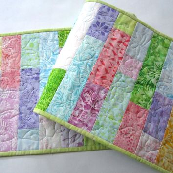 Quilted Batik Table Runner in Pastel Colors