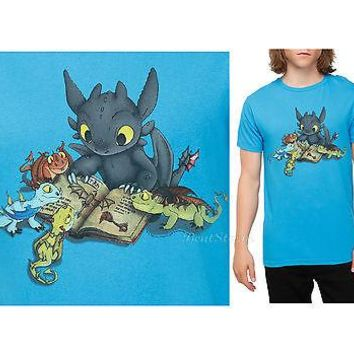 "Licensed cool NEW How To Train Your Dragon 2 TOOTHLESS ""Story Time"" Mens Slim T-Shirt  XS-2X"