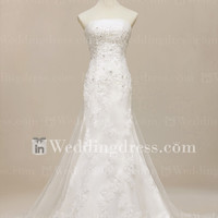 Strapless Elegant Wedding Dress with Detachable Train BG069