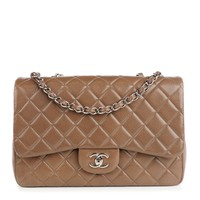 CHANEL Caviar Quilted Jumbo Single Flap Brown