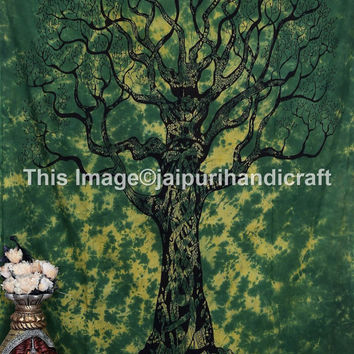 twin green tree tapestry, green-black tree, boho tapestry, wall hanging, wall art, bohemian tapestries, dorm tapestries, gypsy, tree of life