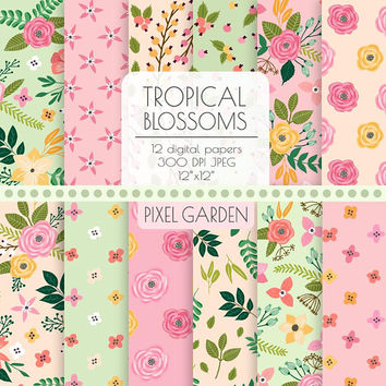 Bright Floral Digital Paper. Pink, Mint, Peach Cottage Chic Scrapbooking Paper. Hand Drawn Peony, Rose Blossom Background. Tropical Flowers