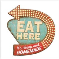 """Eat Here"" Retro Wall Décor"