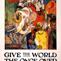 WWI Poster Give The World The Once Over In The United States Navy Apply At Navy