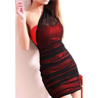 Red One Shoulder Mesh Strapless Dress
