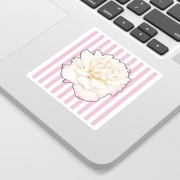 Pale Rose on Stripes Sticker by drawingsbylam
