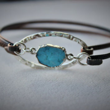 Turquoise Stacking  Bangle bracelet, Mixed metal bangle,Layering stacking bangle with turquoise slice , Christmas Gift for her