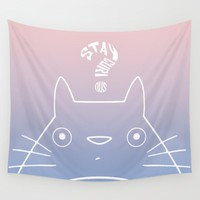 Stay Curious | Serenity & Rose Quartz Wall Tapestry by Miss L In Art