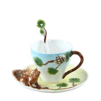 The ceramic cup hand-painted animal bone china cup Black Tea British creative personality household office coffee cup dish spoon