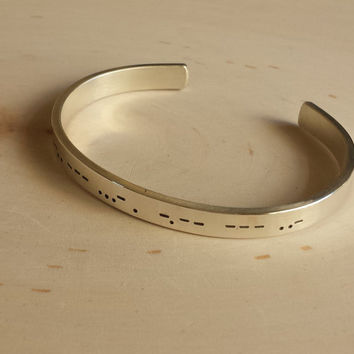 Morse code cuff bracelet sterling silver , I love you