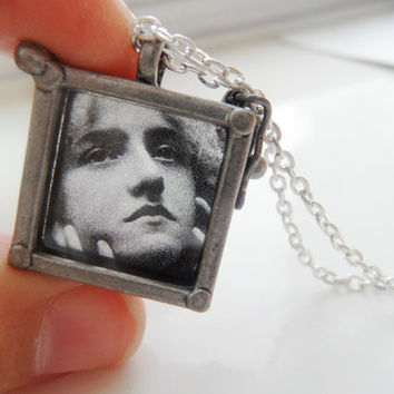 Square Glass Locket Antique Silver by CeciliaJewelry on Etsy