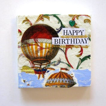 Birthday Magnet, Original Mixed Media, Collage, Acrylic, Mini Canvas, Home Decor