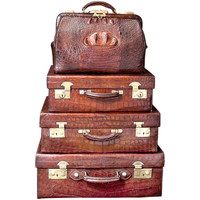 Vintage English Crocodile Luggage Collection